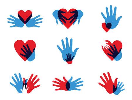 charity person: Multicolor creative diversity hands icon set Illustration