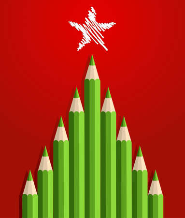 Green Christmas tree pencils greeting card  Vector