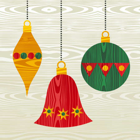 Christmas colorful wooden decorations background Stock Vector - 15355292