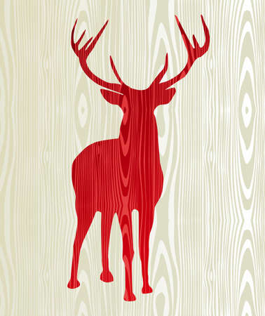 Christmas wood reindeer silhouette postcard background   Vector
