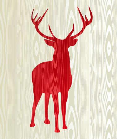 reindeer: Navidad renos de madera silueta postal de fondo
