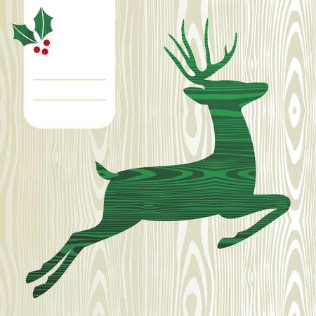 elk horn: Madera con textura Deer with christmas background decoraciones saludo
