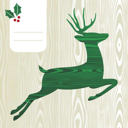 Wood textured Deer with christmas decorations greeting card background  Vector