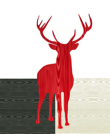 stag: Christmas wooden reindeer shape greeting card background