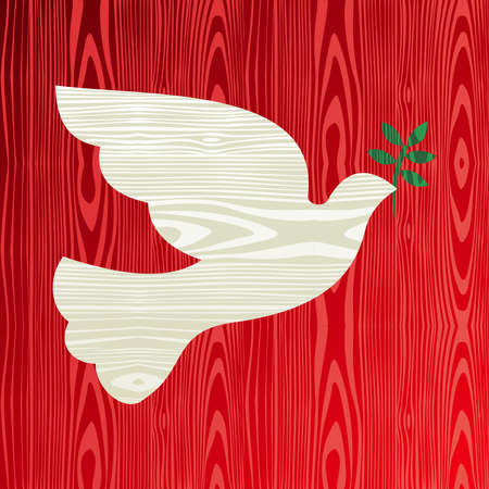 modern christmas baubles: Christmas wooden dove of peace silhouette greeting card background