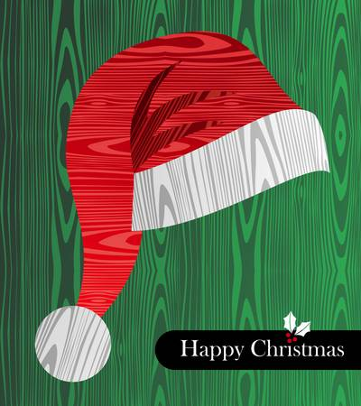 wooden hat: Christmas wooden textured hat shape greeting card