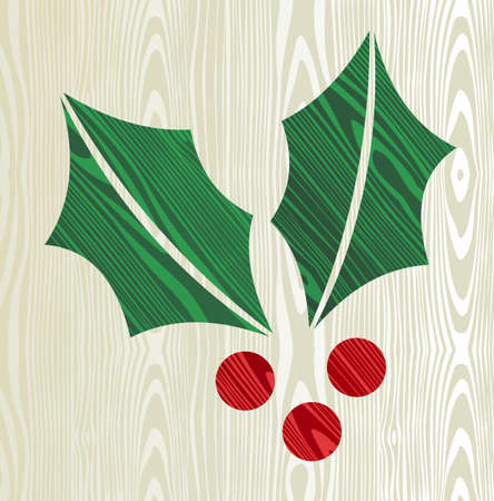 Christmas wooden mistletoe shape greeting card Stock Vector - 15355291