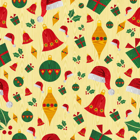 Christmas wooden objects seamless pattern background  Vector