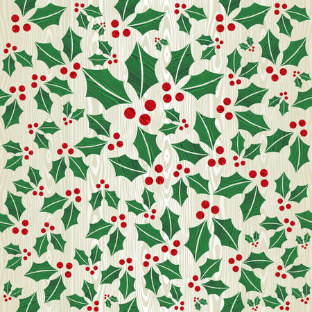 Christmas wooden mistletoe shape seamless pattern background Vector