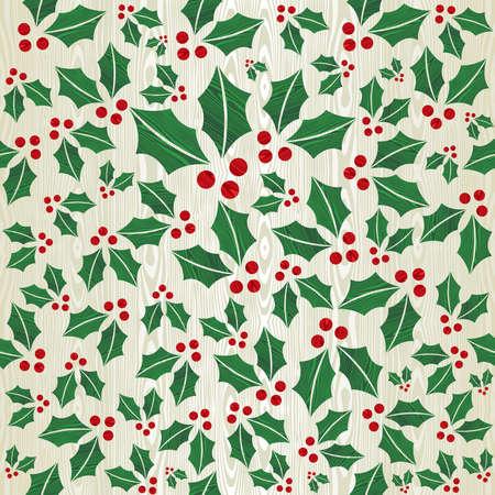 Christmas wooden mistletoe shape seamless pattern background Stock Vector - 15355296