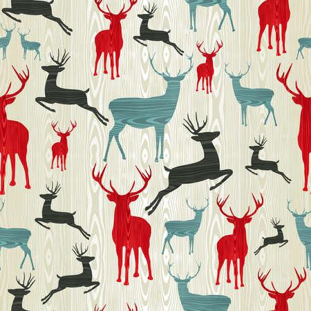 reindeer: Natale renne di legno senza soluzione di continuit� di fondo del modello sfondo illustrazione Vettoriali