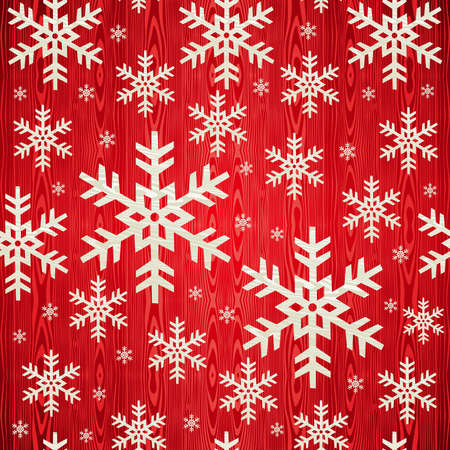 red snowflake background: Christmas wooden snowflakes seamless pattern card background  Illustration