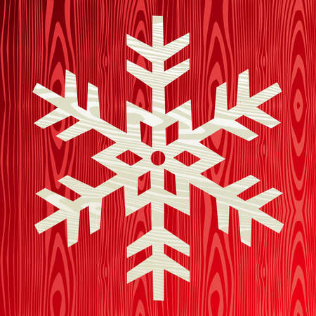 Christmas wooden snowflake symbol greeting card background Stock Vector - 15355289