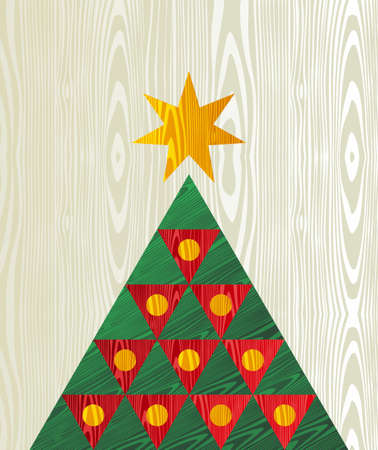 Christmas  tree wooden textured shape greeting card background   Vector