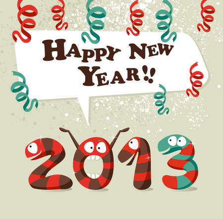 Funny cartoon snake celebrating the beginning of 2013 new year background.  layered for easy manipulation and custom coloring. Vector