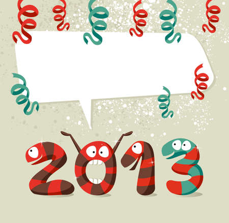 Cartoon 2013 snakes celebrating the beginning of the new year background. illustration layered for easy manipulation and custom coloring. Vector