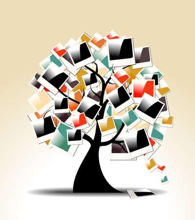 miras: Anlık Vintage aile ağacı kolay manipülasyon ve özel boyama için tabakalı Vector illustration çerçeveleri Çizim