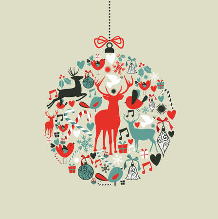 modern christmas baubles: Christmas decorations icons on bauble shape postcard background   illustration layered for easy manipulation and custom coloring