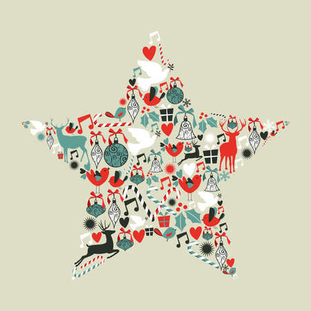 modern christmas baubles: Christmas icons set in star shape  illustration layered for easy manipulation and custom coloring