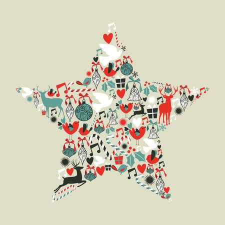 christmas template: Icone di natale impostate in figura forma di stella a pi� livelli per una facile manipolazione e la colorazione personalizzata Vettoriali