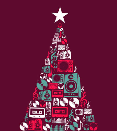 fiestas electronicas: Dj de música retro conjunto de iconos de la Navidad ilustración pino fondo forma ilustración en capas para una fácil manipulación y colorante de encargo
