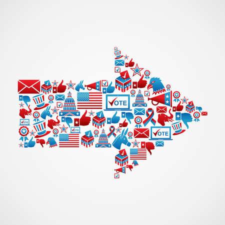 political rally: Politica icona elezioni USA impostata nel file di freccia forma a strati per una facile manipolazione e la colorazione personalizzata