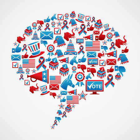 american media: Social media USA election icon set concept in bubble talk shape   file layered for easy manipulation and custom coloring