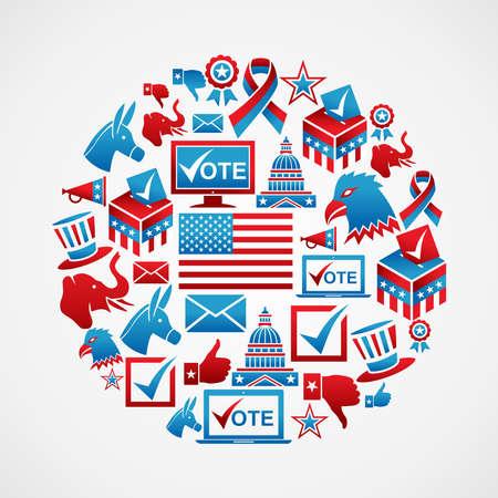 political rally: США выборы набор иконок концепции в кругу файлов форму слоями для облегчения работы и пользовательские раскраски Иллюстрация