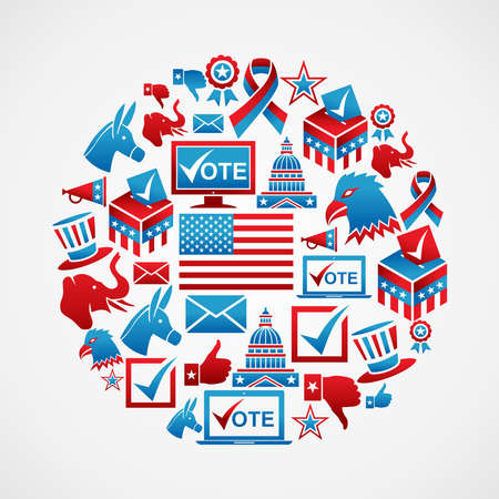 USA election icon set concept in circle shape   file layered for easy manipulation and custom coloring  Vector