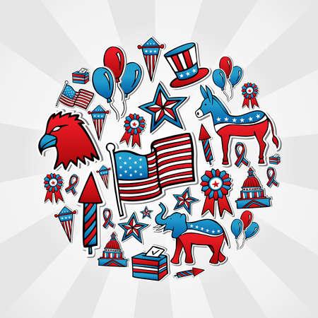 political rally: США выборы рисованной эскиз набор иконок в кругу многослойный файл для облегчения работы и пользовательские раскраски