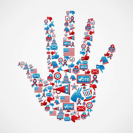 political rally: США выборы набор иконок в руки векторные фигуры многослойный файл для облегчения работы и пользовательские раскраски