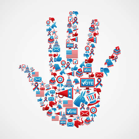 rally finger: USA elections icon set in hand shape  Vector file layered for easy manipulation and custom coloring