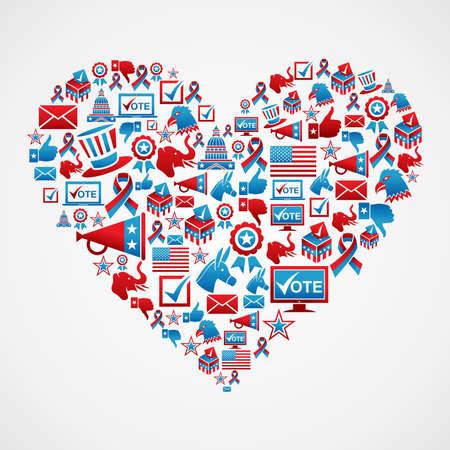 political rally: USA icona elezioni impostata nel file di forma di cuore a strati per una facile manipolazione e la colorazione personalizzata