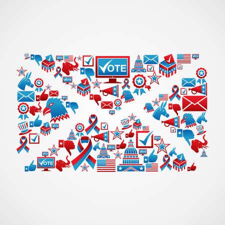 voting ballot: Reclutar a los votantes elecciones EE.UU. icono concepto conjunto en el archivo electr�nico sobre capas para una f�cil manipulaci�n y colorante de encargo Vectores