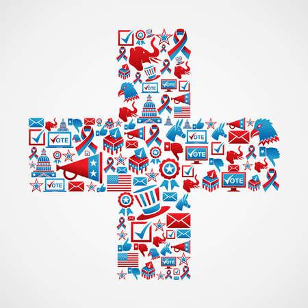 political rally: Online Marketing elezioni USA set di icone in file pi� segno a strati per una facile manipolazione e la colorazione personalizzata Vettoriali