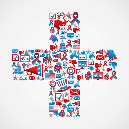 political rally: Online Marketing USA elections icon set in plus sign shape   file layered for easy manipulation and custom coloring  Illustration