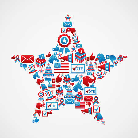 political rally: USA elections icon set in star shape   file layered for easy manipulation and custom coloring