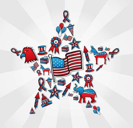 political rally: США Политика Выборы эскиз иконы стиля расположен в файле формы звезды слоями для облегчения работы и пользовательские раскраски Иллюстрация