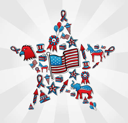 elephant icon: USA politics elections sketch style icon set in star shape  file layered for easy manipulation and custom coloring  Illustration