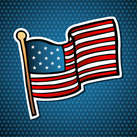 stripped background: USA cartoon flag icon hand drawn style over blue stars background   file layered for easy manipulation and custom coloring