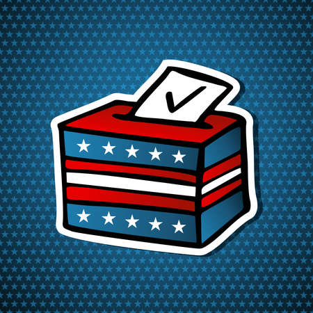 political rally: USA elections Ballot Box sketch style icon over blue stars background   file layered for easy manipulation and custom coloring