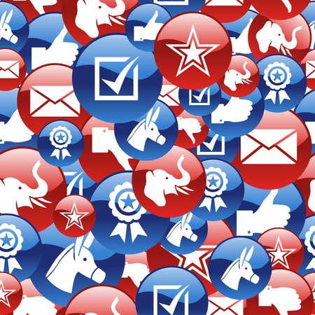 endlos: USA Wahlen glänzende Muster Vektor-Datei für eine einfache Handhabung und individuelle Färbung geschichtet