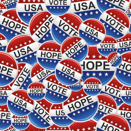political rally: Vote, Hope and USA election badge pins pattern   file layered for easy manipulation and custom coloring