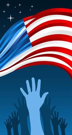 political rally: Elezioni USA a mano le persone votano con sventolando bandiera sfondo illustrazione