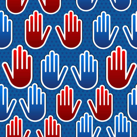 USA elections hand seamless pattern background.  file layered for easy manipulation and custom coloring. Vector