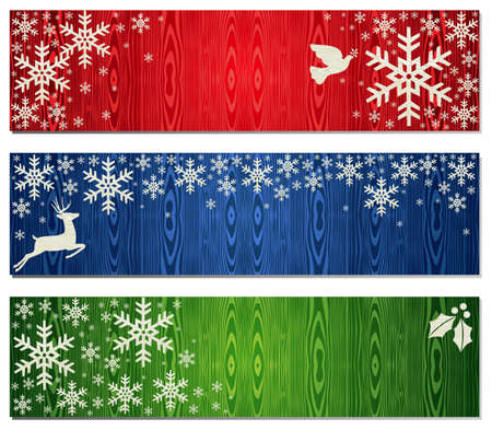 Reindeer, dove of peace and mistletoe Christmas banner backgrounds. illustration layered for easy manipulation and custom coloring.
