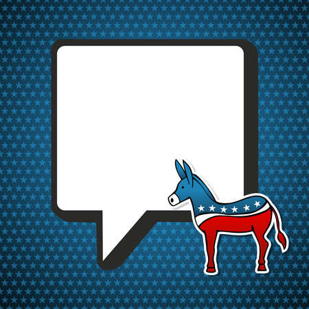socialize: USA elections Democratic politic message with donkey in sketch style over blue stars background.  file layered for easy manipulation and custom coloring.