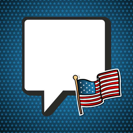 political rally: USA blank national speech bubble with flag in sketch style over blue stars background. file layered for easy manipulation and custom coloring.
