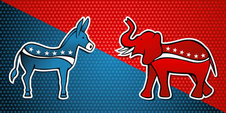 USA elections Democratic vs Republican party in sketch style over stars background.  file layered for easy manipulation and custom coloring. Vector