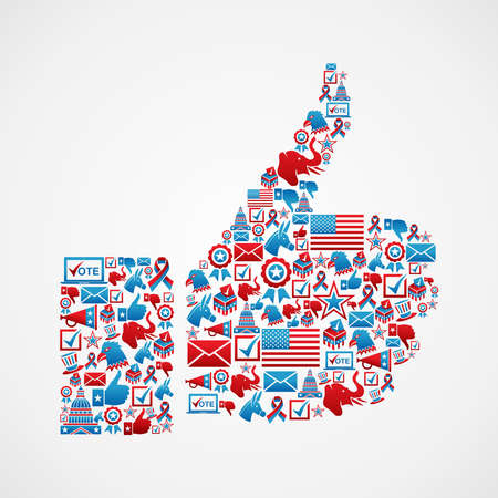 political rally: USA elections icon set in thumb up hand shape.  file layered for easy manipulation and custom coloring. Illustration